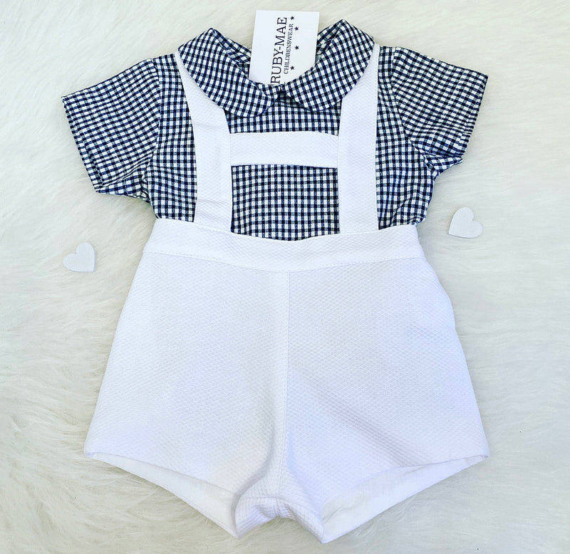 White & Black Check Two Piece Outfit Set - Mark