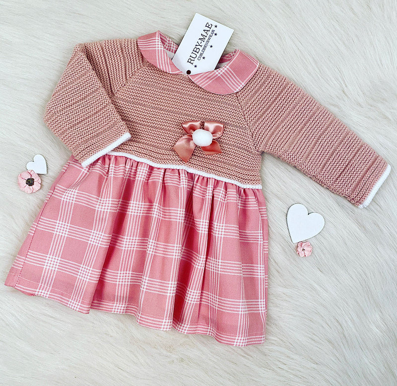 Pink Check Bow Front Dress - Gigi