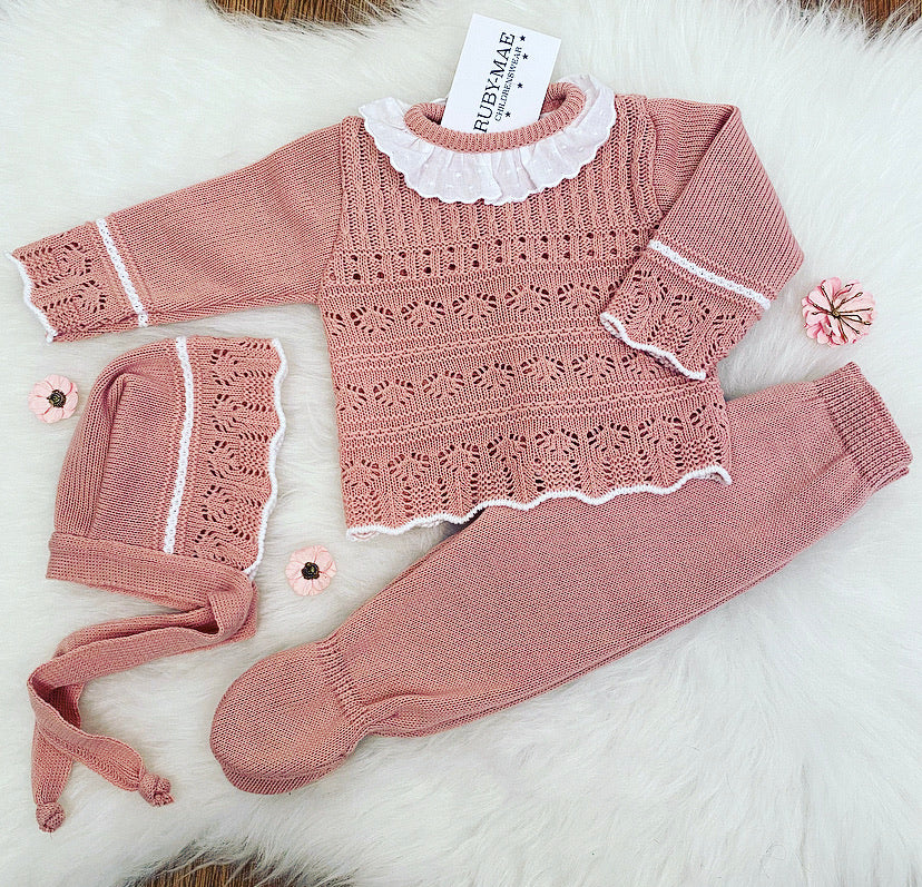 Dusky Pink Knitted Long Legged 3 Piece Set - Eloise