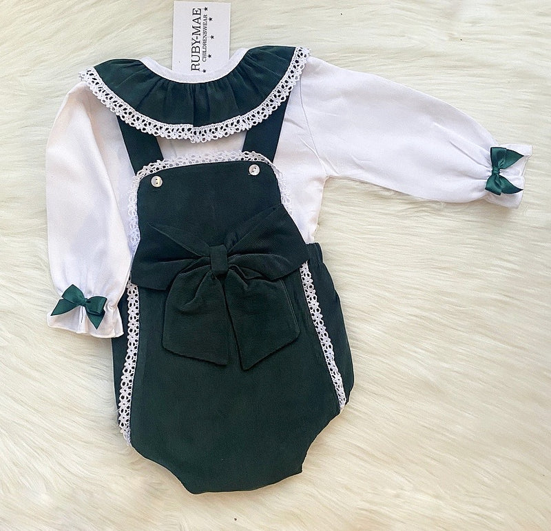PREMIUM Emerald Green Dungaree Romper With Matching White Blouse - Zarah