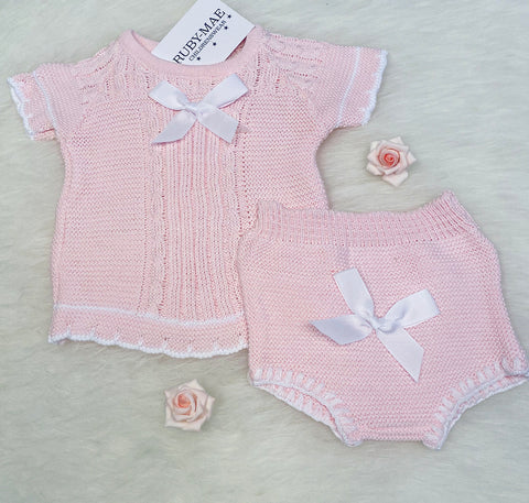 Dusky Pink Bow Pom Pom Front Dress With Matching Knickers Outfit - Kylie