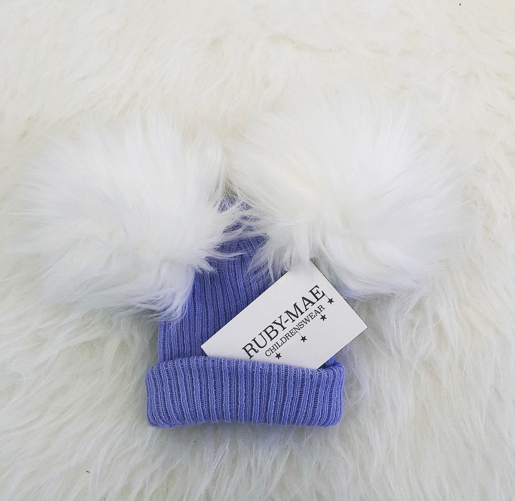 Blue Ribbed White Faux Fur Pom Pom Hat