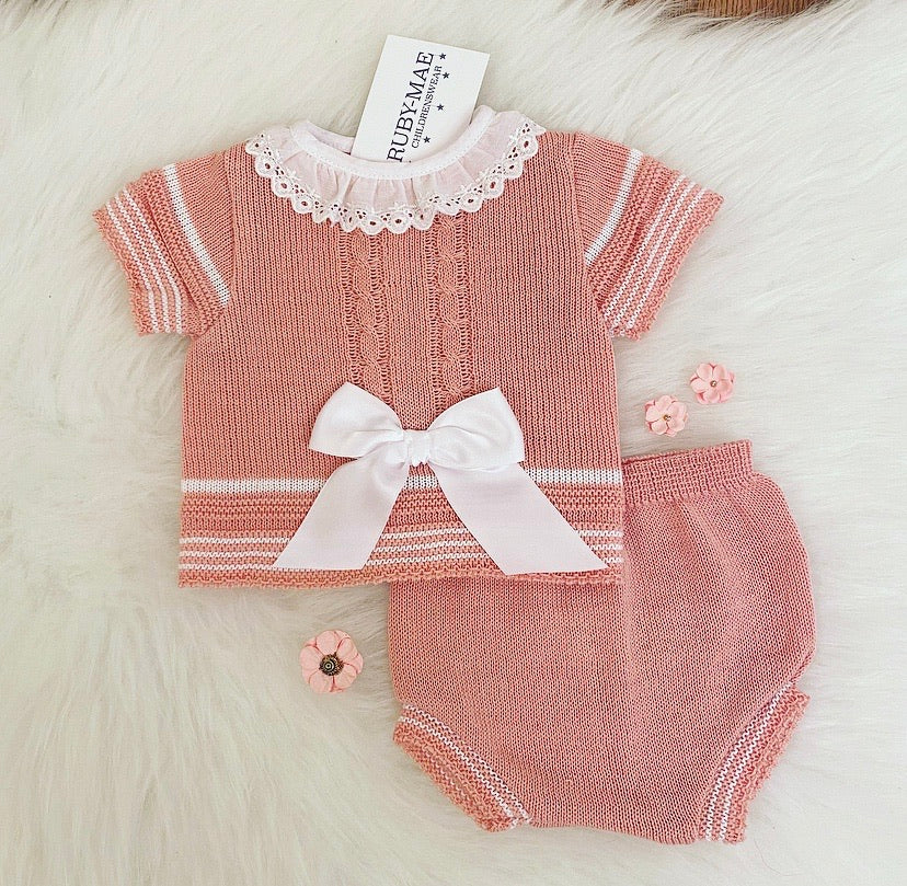 Dusky Pink Bow Front Dress With Matching Knickers Outfit - Kimberly