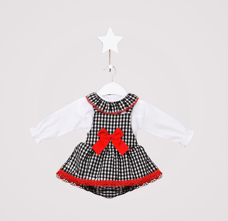 Red With White Gingham Jumper & Tutu Dungaree Two Piece Outfit - Kayleigh