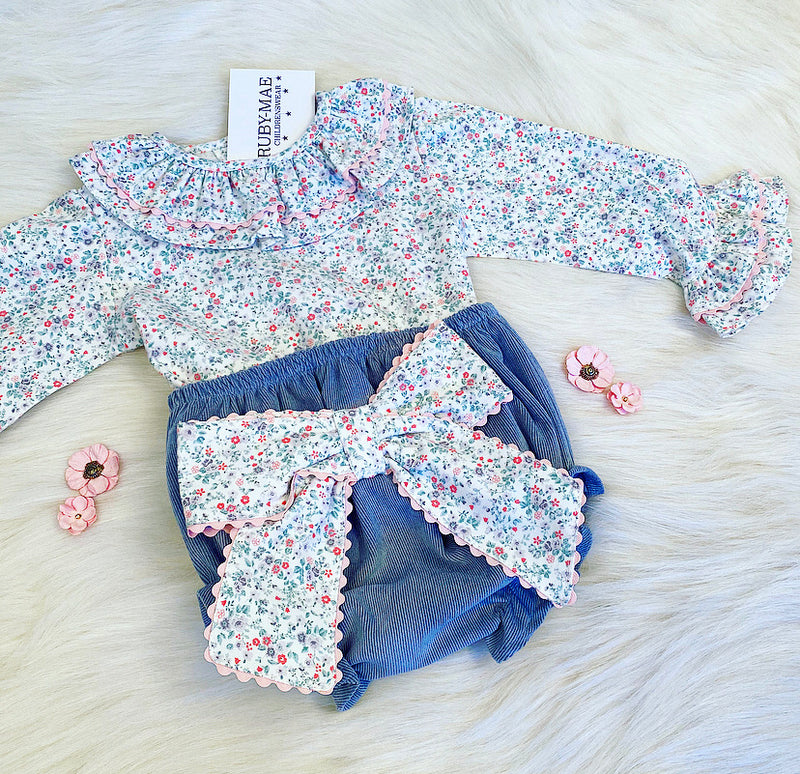 PREMIUM Teal Floral Frill Neck Blouse With Matching Jam Pants Outfit Set - Beth