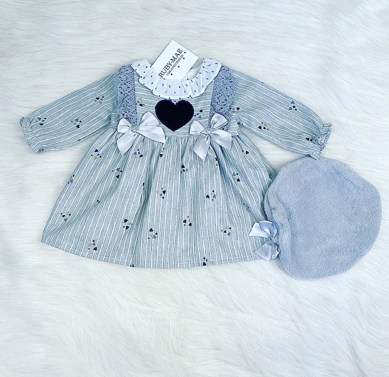 Grey Heart Bow Front Dress With Matching Beret Hat - Zaria
