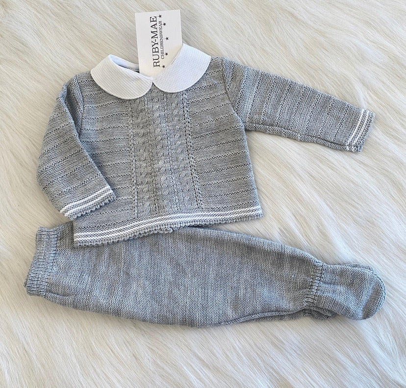 Grey With White Long Leg Knitted Two Piece - Tommy