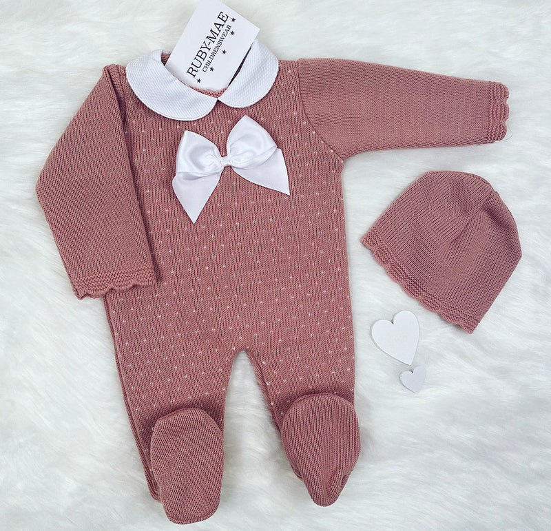 Dusky Pink Bow Front Knitted Bow Detail All In One With Matching Hat - Rubie
