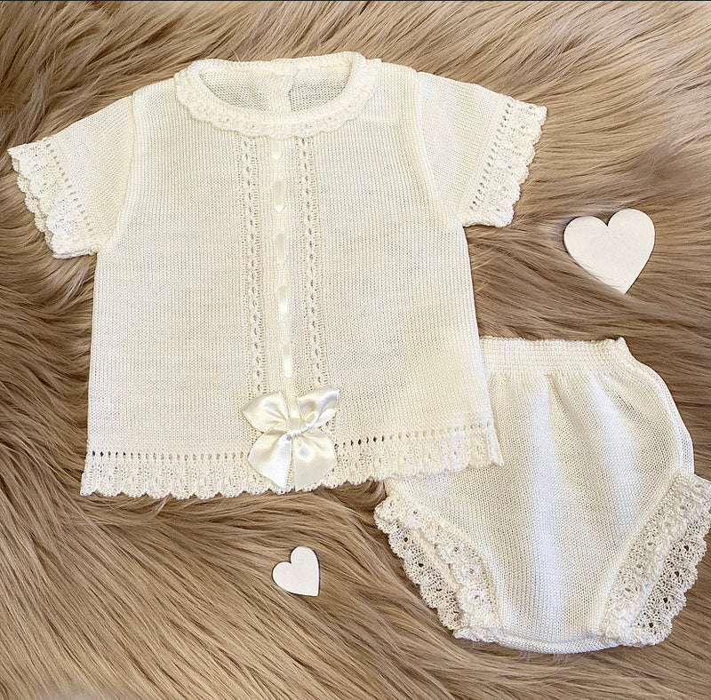 Cream Bow Front Dress With Matching Knickers Outfit - Sophia
