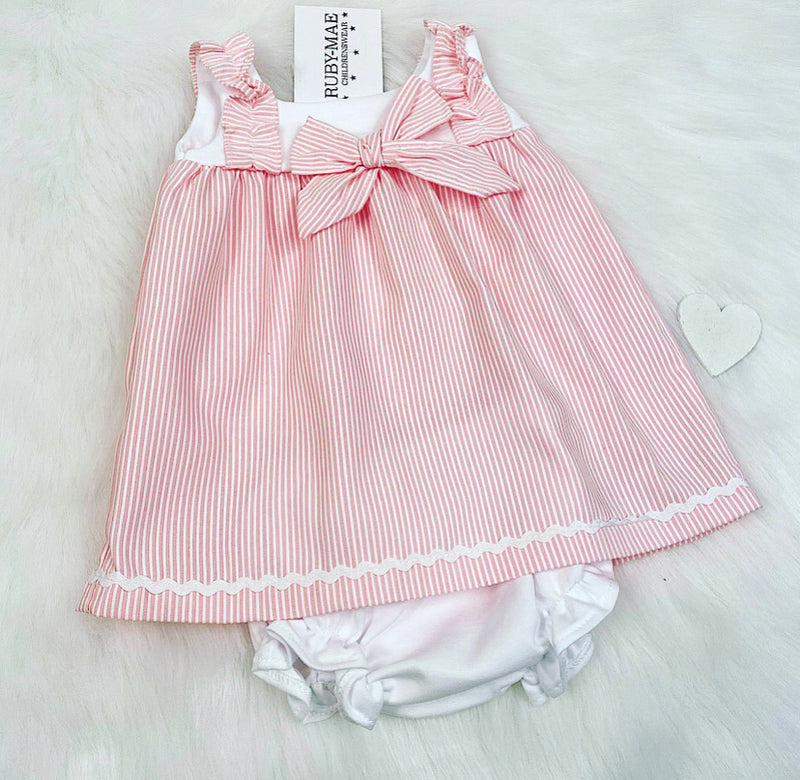 Pink & White Stripe Dress With Matching Knickers - Aviva