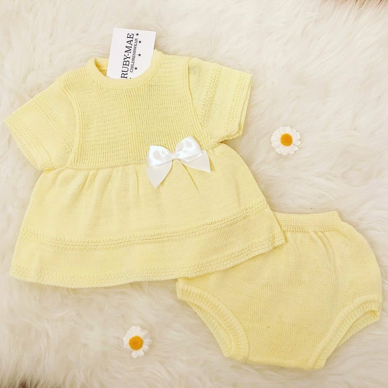 Lemon Bow Front Dress With Matching Knickers - Megan