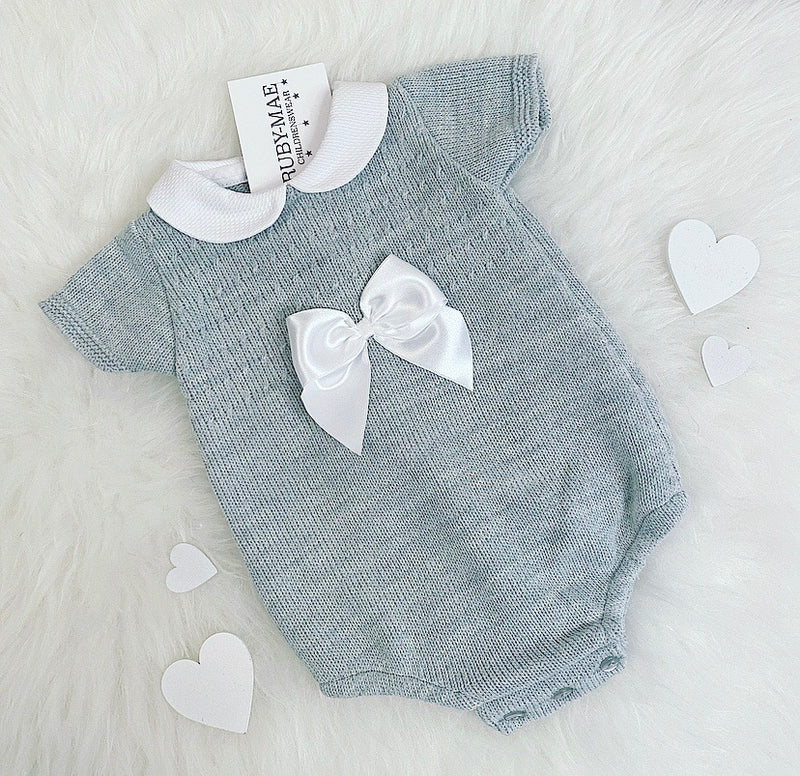 UNISEX Grey Bow Front Romper - Cam