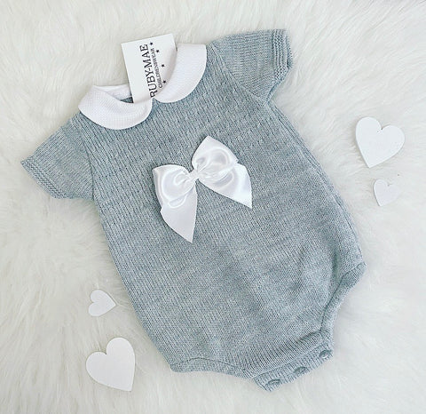 White With Grey Detail Knitted Romper