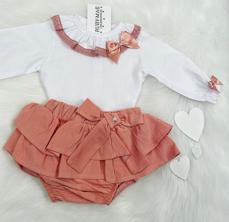 White Blouse With Dusky Pink Matching Skirt Outfit - Gemma