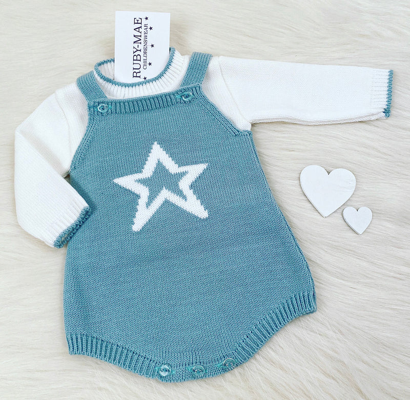 White Jumper With Teal Knitted Star Dungaree Romper With Matching Jumper Set - Harry