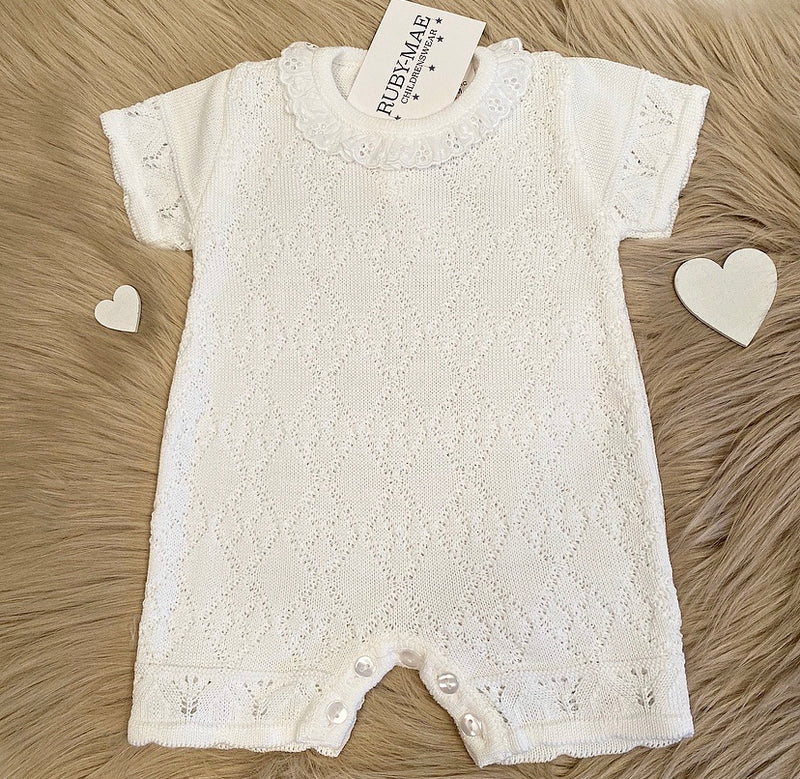 White Short Sleeve Diamond Cable Knitted Romper