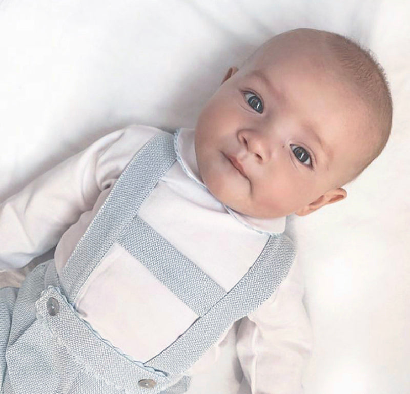 PREMIUM White & Blue Dungaree Outfit Set - Blake