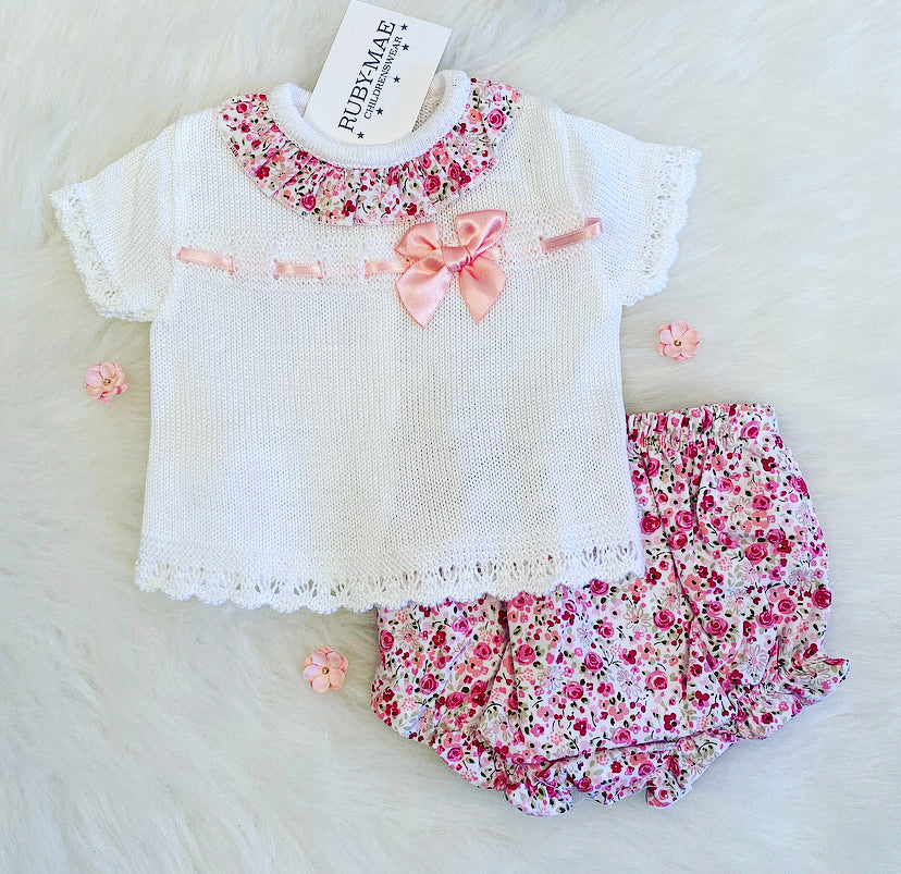 White & Floral Printed Dress With Matching Knickers Outfit - Georgie
