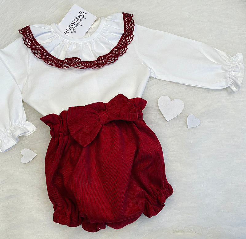 PREMIUM White And Burgundy Frill Neck Blouse With Matching Shorts Outfit Set - Willow