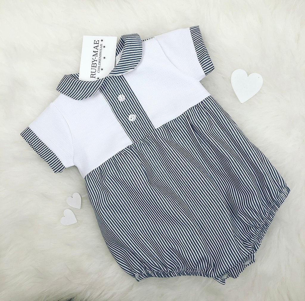 Navy And White Stripe Romper Outfit - Joey