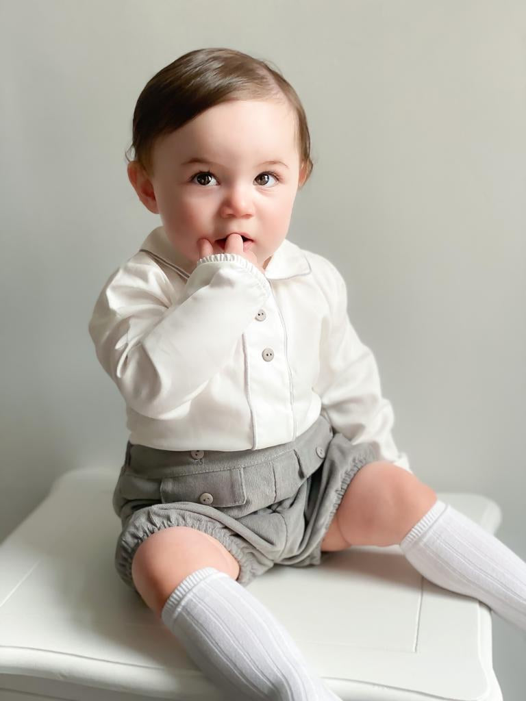 PREMIUM White & Grey Shirt & Shorts Outfit Set - Kirby