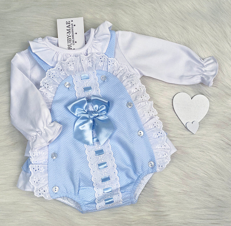 PREMIUM Blue And White Lace Ruffle Detail Dungaree Outfit - Victoria