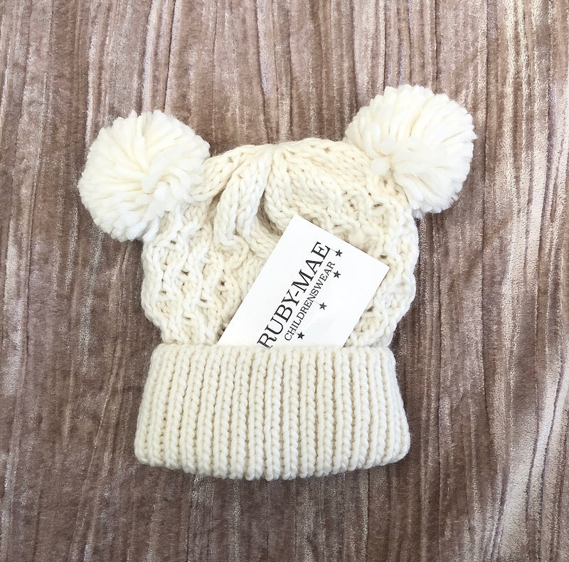 Cream Cable Knit Pom Pom Hat
