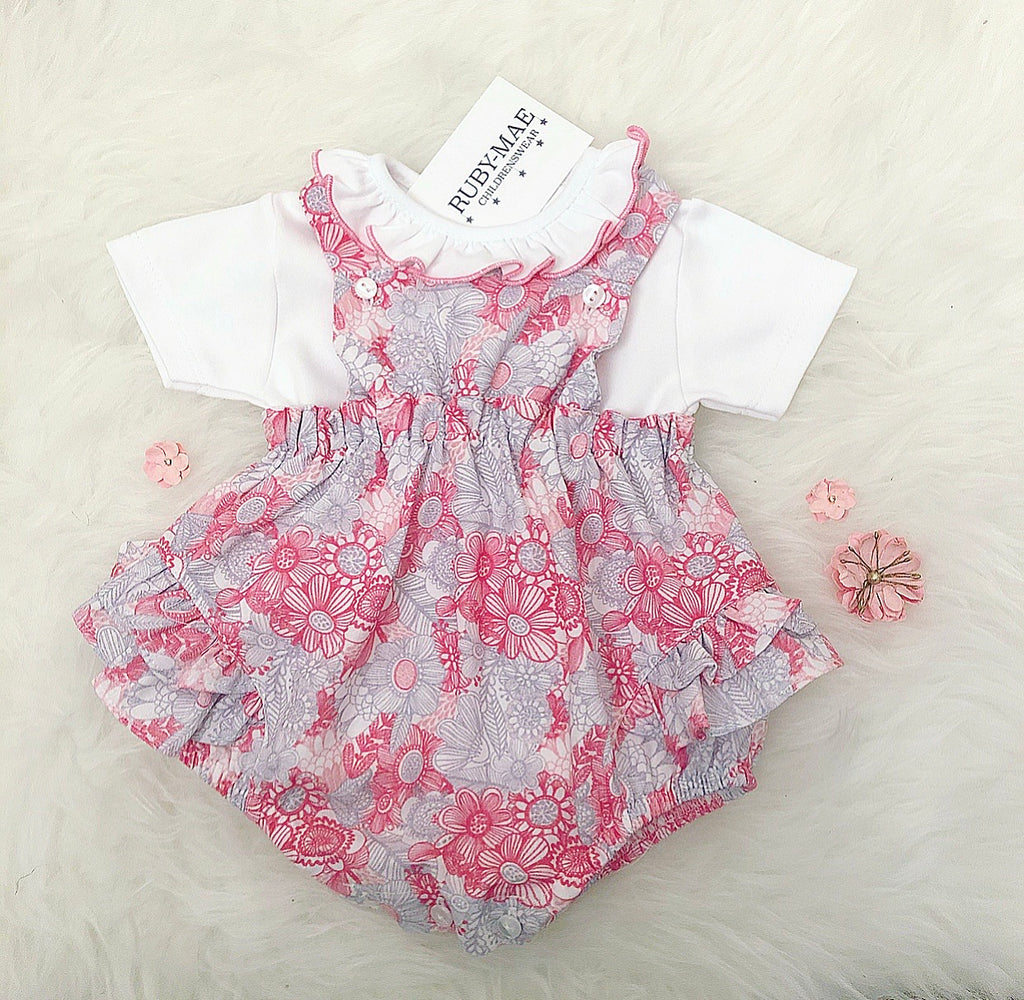 Pink And Grey Floral Print Dungaree Two Piece Outfit - Poppy