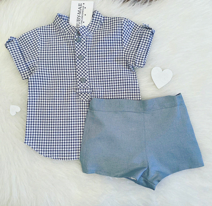 Grey Check Two Piece Outfit Set - Carter