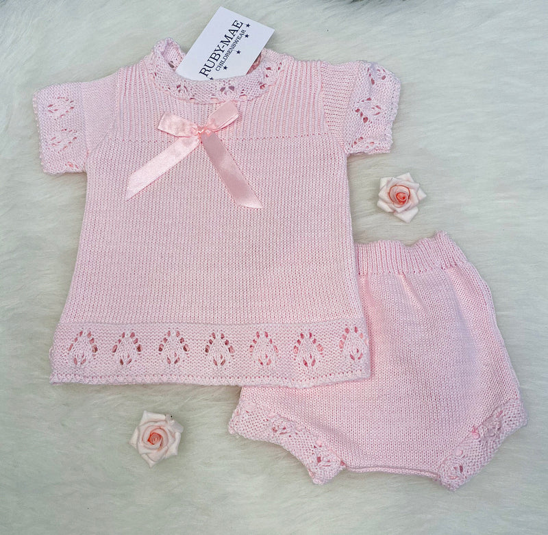 Pink Bow Front Knitted Dress With Matching Knickers Outfit - Stassy