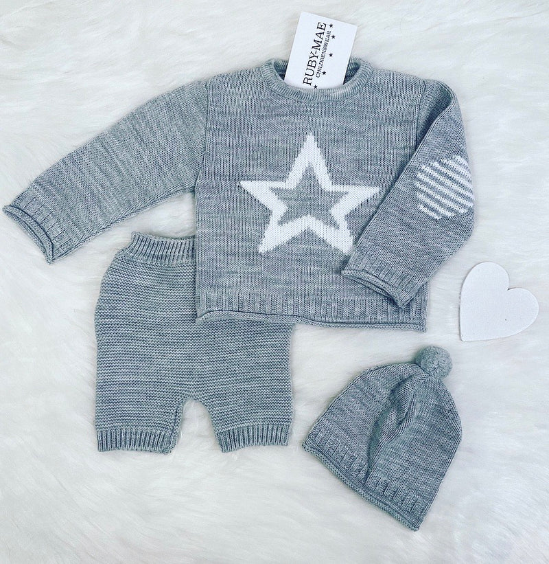 Grey And White Star Knitted Jumper And Short With Matching Hat Outfit - Jamie