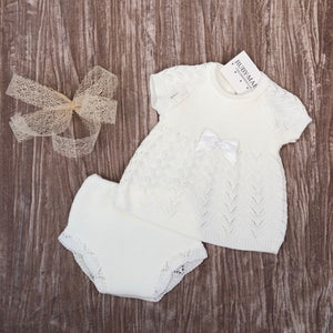 White Knitted Dress With Matching Knickers - Isabella
