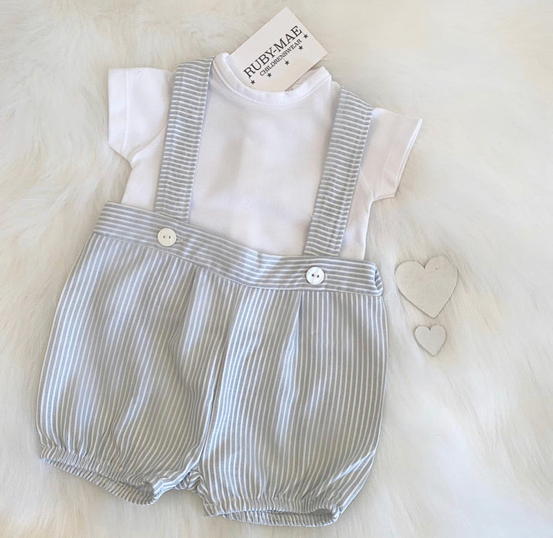 White & Grey Stripe T-Shirt & Matching Dungaree Outfit - Adam