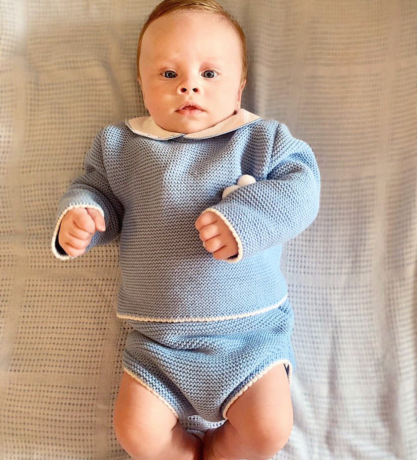 Blue Knitted Pom Pom Jumper And Jam Pants Outfit Set- Sam