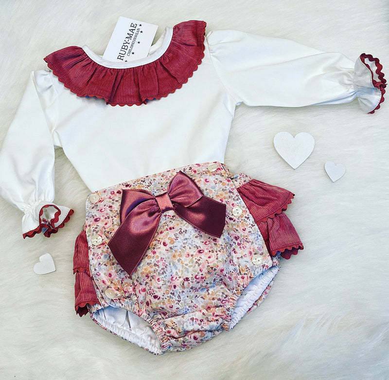 PREMIUM White And Plum Floral Frill Neck Blouse With Matching Shorts Romper Outfit Set - Beth