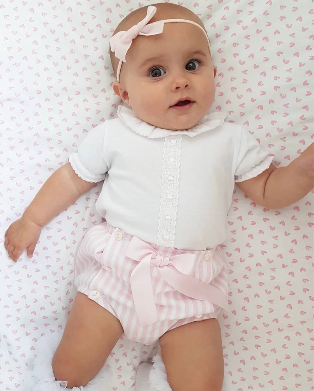 Pink And White Stripe Blouse And Bow Front Jam Pants Outfit - Carly