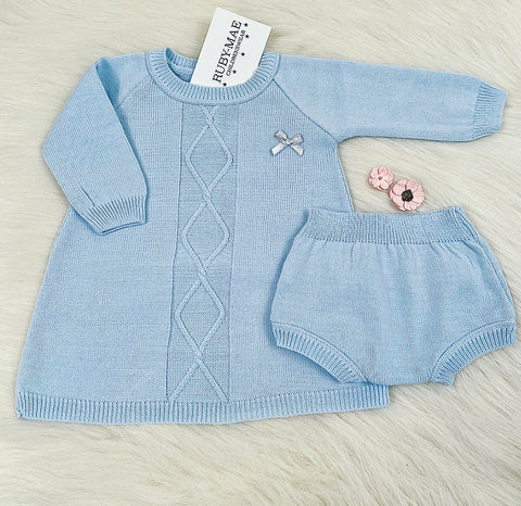 Grey Knitted Pom Pom Jumper And Pants With Matching Hat Outfit - Katy