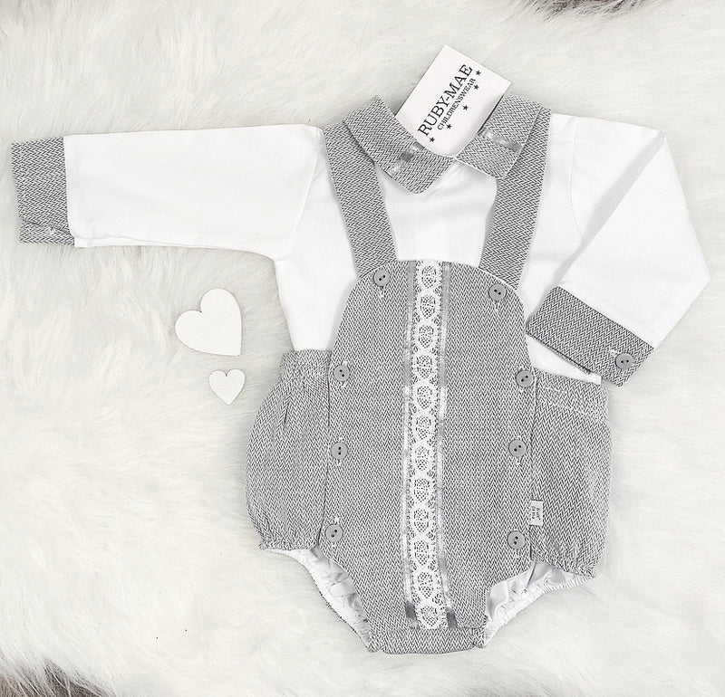 PREMIUM White & Grey Dungaree Outfit Set - Hector