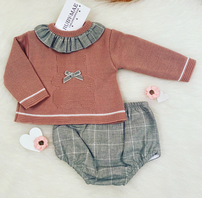 Dusky Pink Knitted Detailed Jumper And Jam Pants Outfit Set- Polly