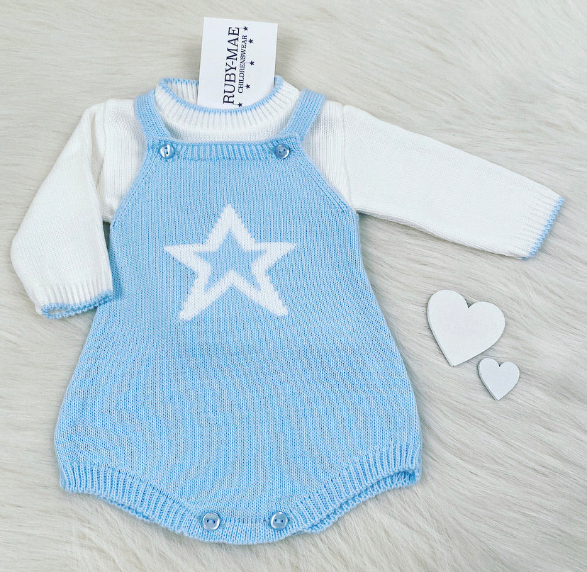 White Jumper With Blue Knitted Star Dungaree Romper With Matching Jumper Set - Harry