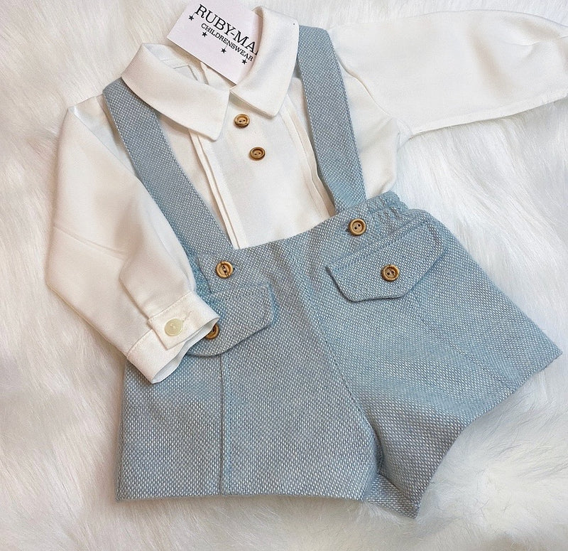 PREMIUM White & Blue H-Bar Dungaree With Shirt Outfit - Ted