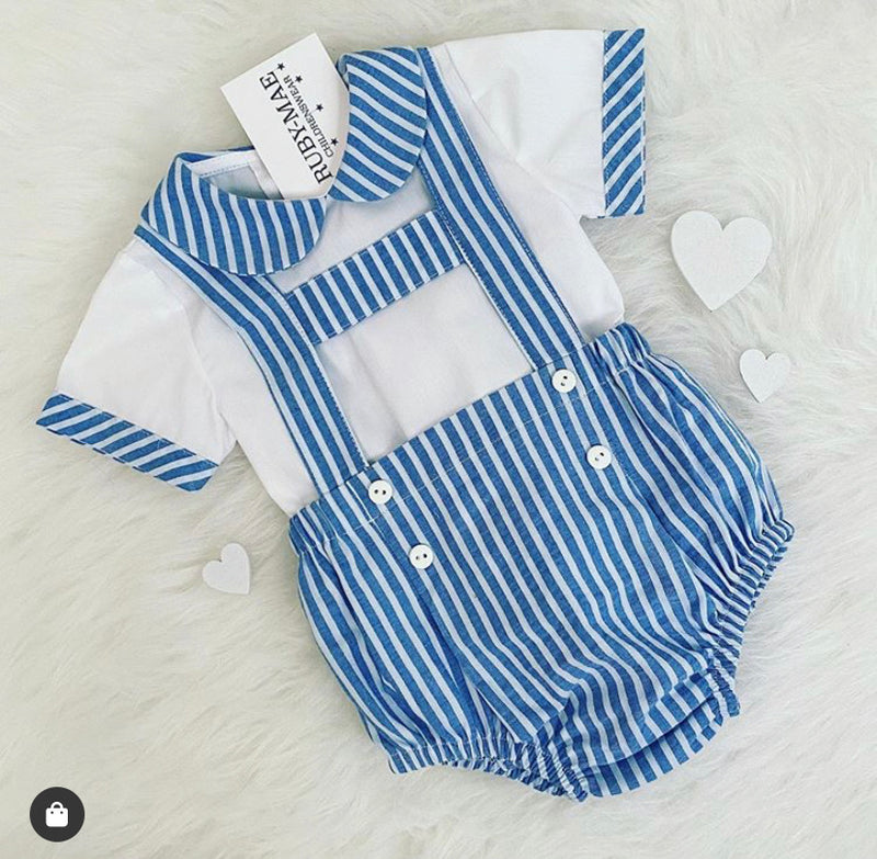 Blue And White Stripe H Bar Dungaree Outfit Set - Vinnie