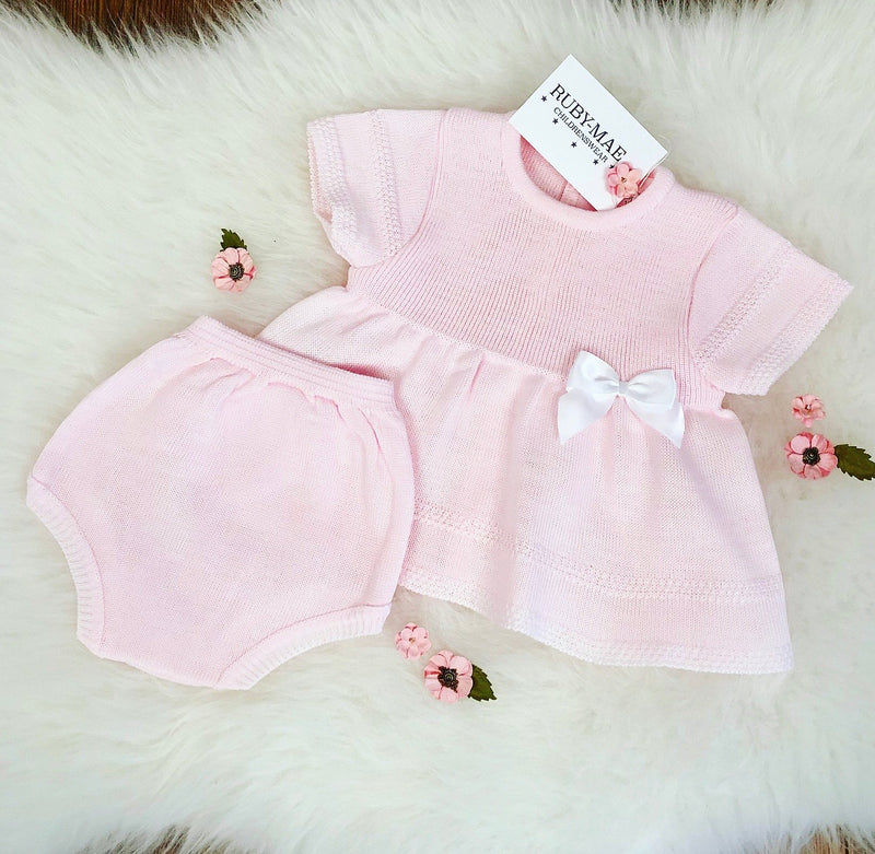 Pink Bow Front Dress With Matching Knickers - Candice
