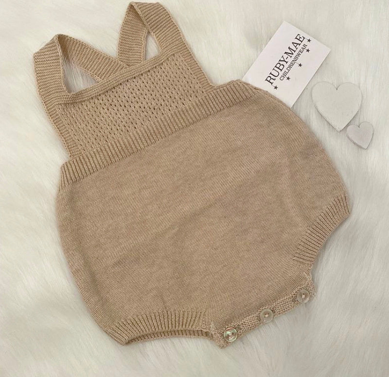 UNISEX Camel Knitted Dungaree Romper