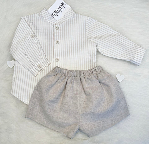 Grey Shorts & White Top Outfit Set - Rox