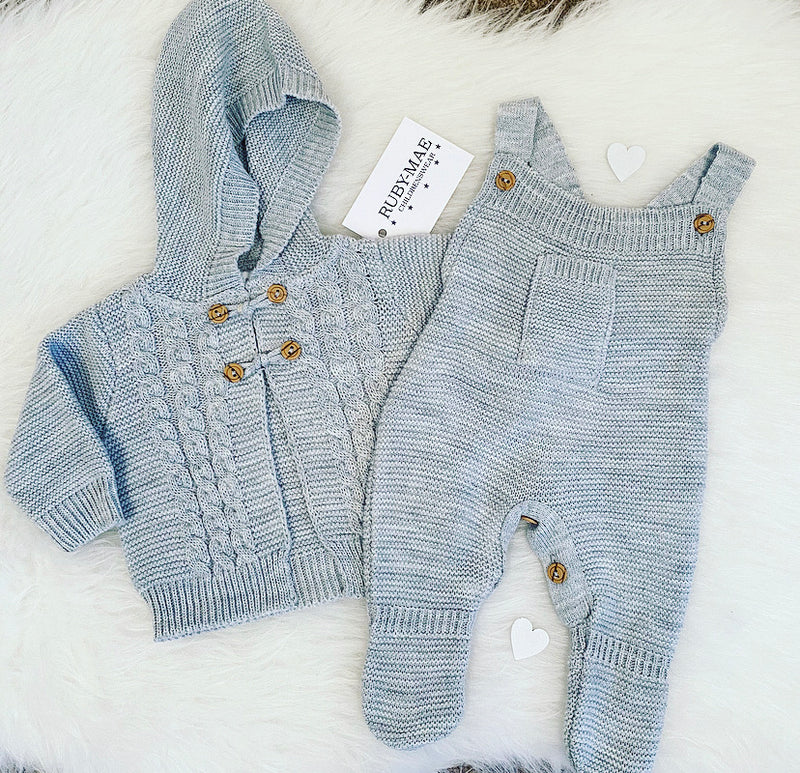 UNISEX Grey Knitted Long Leg Dungaree With Matching Pom Pom Jacket Outfit Set