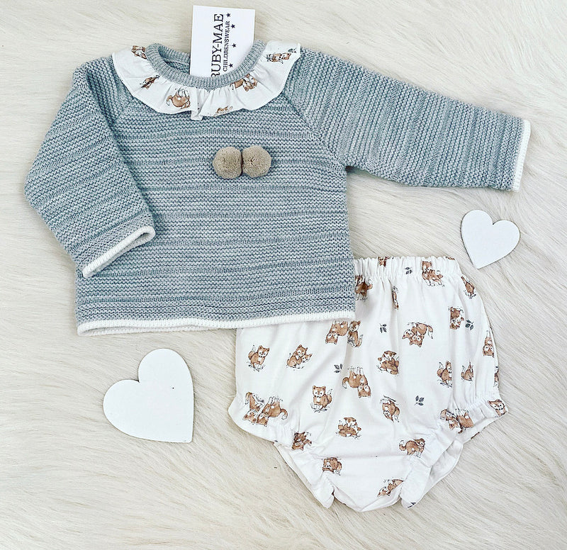 Grey With Dog Print Knitted Jumper & Bloomers Outfit - Sally