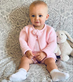Pink Knitted Dungaree Shorts With Matching Pom Pom Jacket Outfit
