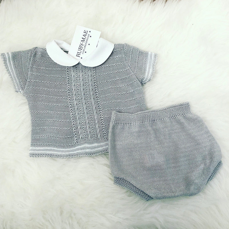 Grey With White Knitted Two Piece Outfit - Wil