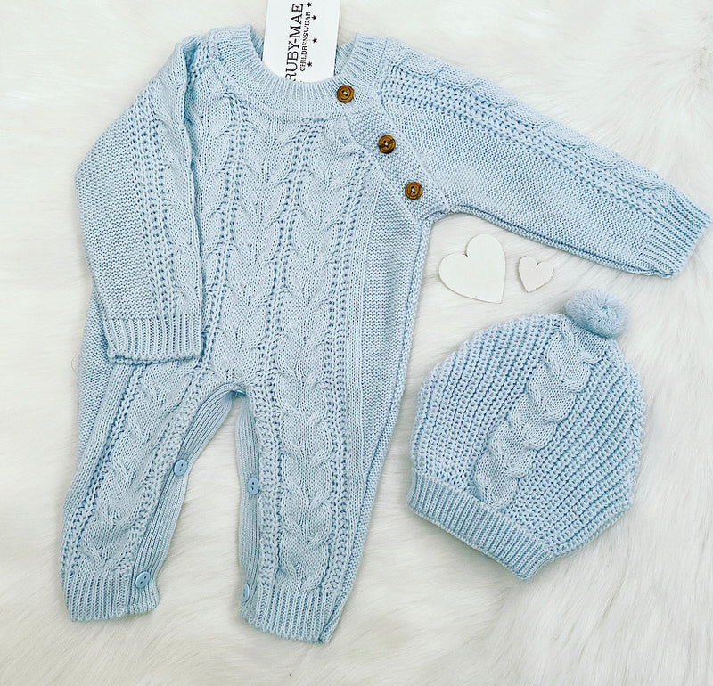 Blue Knitted Romper With Matching Hat - Kaleb